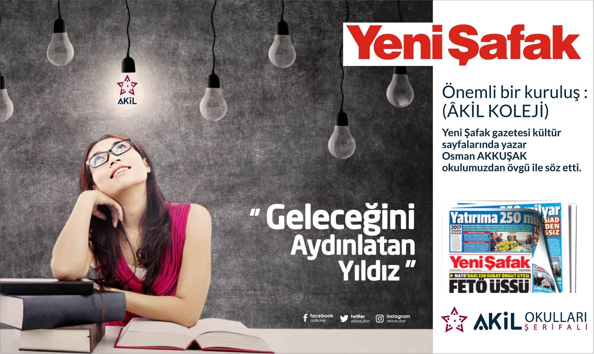Akil Okulları Yeni Şafak Gazetesi'nde